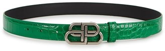 Balenciaga BB Thin Green Crocodile-effect Leather Belt