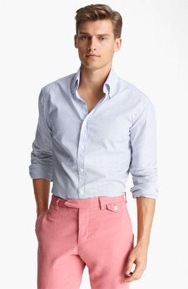 Michael Bastian Pieced Stripe Woven Shirt Light Blue/ White Stripe 39 EU