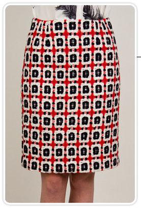Corey Lynn Calter Ida Pencil Skirt in Red Multi Tweed