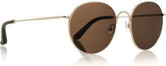 The Row Round-frame leather-tipped metal sunglasses