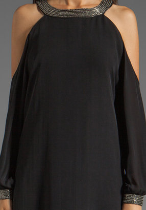 Haute Hippie Cold Shoulder Dress with Embellished Neck