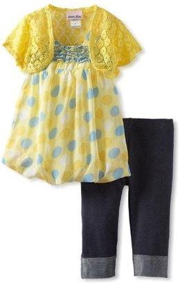 Little Lass Girls 2-6X 3 Piece Bubble Hem Skimp with Shrug and Denim Legging