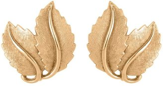 Susan Caplan Vintage 1960s Vintage Trifari Brushed Leaf Clip-on Earrings
