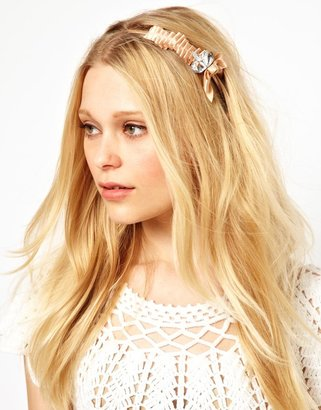 Johnny Loves Rosie Pleated Bow Hairband with Diamante Detail