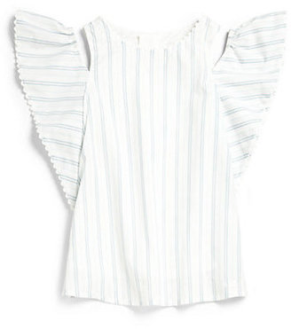 Chloé Girl's Striped Ruffle-Sleeve Top