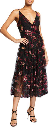 Dress the Population Paulette Sequin Floral Embroidered Midi Dress