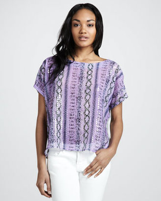 T-Bags T Bags Snake-Print Sequin Top