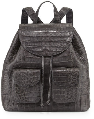 Nancy Gonzalez Crocodile Drawstring Backpack, Charcoal