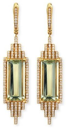 Ivanka Trump Empire Elongated Prasiolite & Diamond Earrings $4,400 thestylecure.com