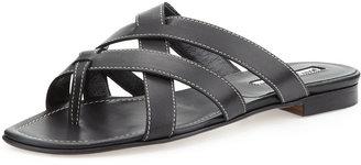 Manolo Blahnik Lascia Woven Leather Thong Sandal, Black