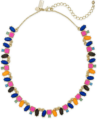Kate Spade Gold-Tone Multicolor Mosaic Mini Frontal Necklace