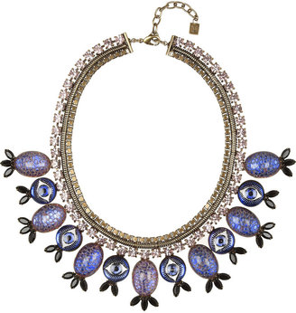 Dannijo Luisa Evil Eye oxidized brass crystal necklace