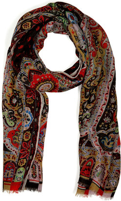 Etro Wool-Silk Paisley Print Scarf
