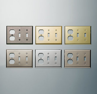 Restoration Hardware Metal Double Switch and Single Socket Plate Combo