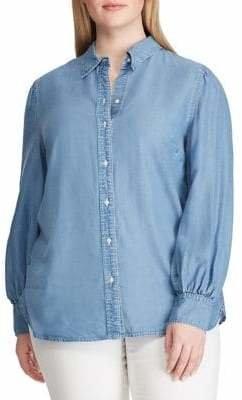 Lauren Ralph Lauren Plus Classic Denim Button-Down Shirt