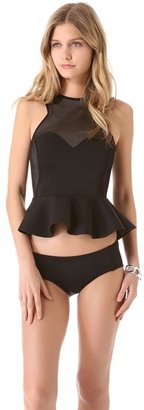 Skye & staghorn Pappillon Peplum Bikini Top
