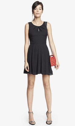 Express Pleated Keyhole Fit And Flare Dress - Black