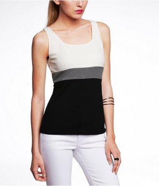 Express Lace And Color Block Shell Top