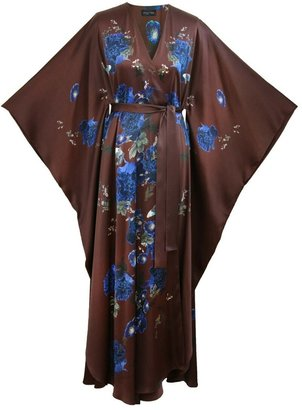 MENG Womens Chocolate Blue Floral Silk Satin V Neck Wrap