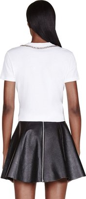 Alexander McQueen White Embroidered Crystal Yoke T-Shirt