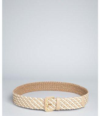 Prada sand and tan woven saffiano leather belt