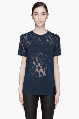 Matthew Williamson Blue mottled split-seam T-Shirt