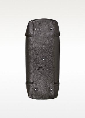 Pineider 1774 - Ebony Rugato Calfskin Three-Gusset Briefcase