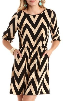 Charlotte Russe Chevron Stripe Woven A-Line Dress