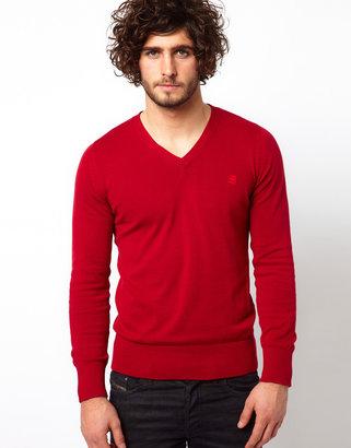 G Star Sweater Amos Cotton Knit V-Neck
