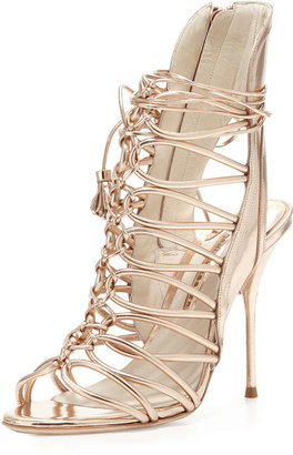 Webster Sophia Lacey Strappy Metallic Sandal, Rose Gold