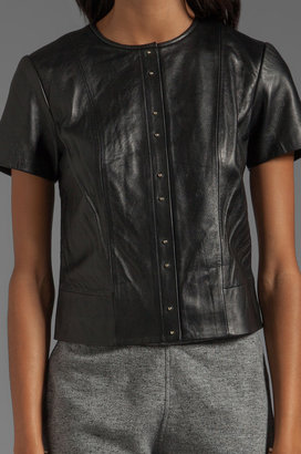 Alexander Wang Light Weight Leather Short Sleeve Top