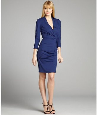 Nicole Miller dark cobalt stretch long sleeve ruched dress