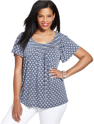 Style&Co. Plus Size Short-Sleeve Printed Pleated Top