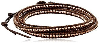 Chan Luu rose gold nugget wrap bracelet on brown leather