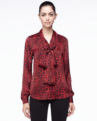 MICHAEL Michael Kors Leopard-Print Bow Blouse