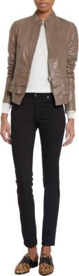 Barneys New York Tiered Ruffle Hem Leather Jacket