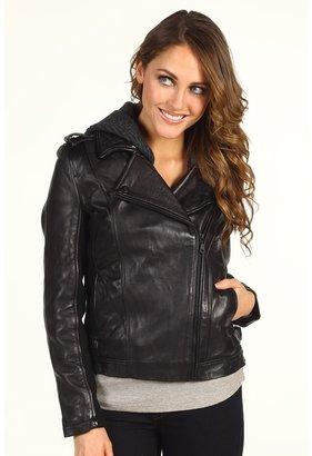 DKNY Leather Moto Jacket w/ Knit Hood Women's Coat