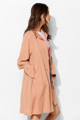 UO The Whitepepper Polka Dot Trim Trench Coat