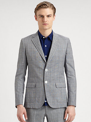 Band Of Outsiders Check Wool & Linen Blazer