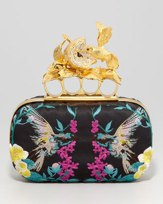 Alexander McQueen Apple & Hummingbird Knuckle-Duster Embroidered Clutch Bag