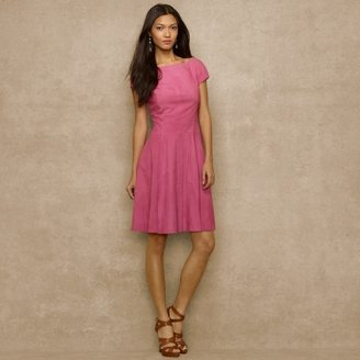 Ralph Lauren Blue Label Cap-Sleeved Suede Dress