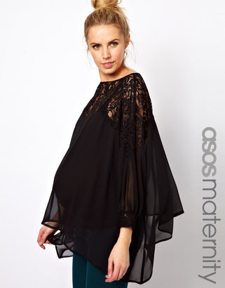 Asos Top With Lace Trim And Cuff