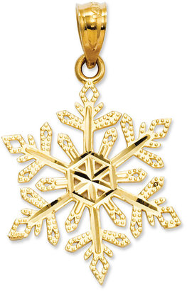 14k Gold Charm, Diamond-Cut Snowflake Charm
