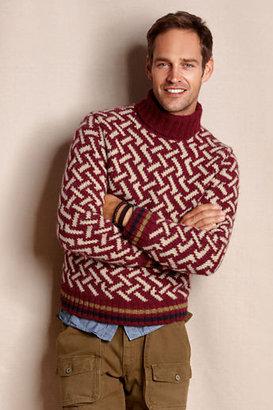 Lands' End Canvas Men's Fair Isle Turtleneck Sweater