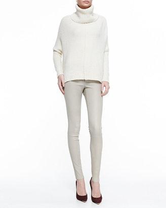 Alice + Olivia Front-Zip Leather Leggings