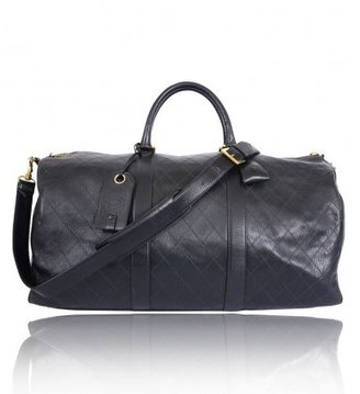 Chanel excellent (EX Black Quilted Lambskin XL Boston Duffel Bag