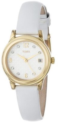 Timex Women's T2N449 Elevated Classics Swarovski Crystals White Leather Strap Watch $64.99 thestylecure.com