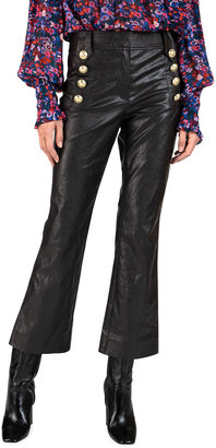 Derek Lam 10 Crosby Corinna Faux-Leather Cropped Flare Pants with Sailor Buttons
