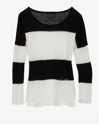 Line Exclusive B & W Striped Linen Knit Sweater