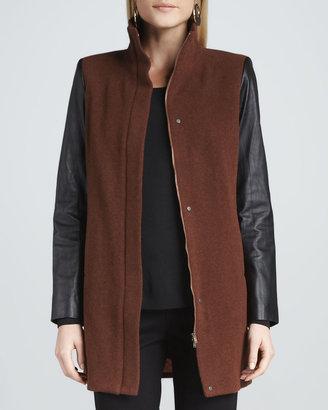 Eileen Fisher Leather-Sleeve Jacket